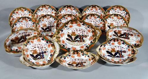 Regency Spode 967 Pattern Porcelain  Dessert Service, Twenty-Two Pieces, Circa 1807-15