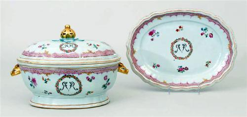 Chinese Export Porcelain Famille Rose Soup Tureen, Cover & Stand, Swedish Market, Circa 1775.