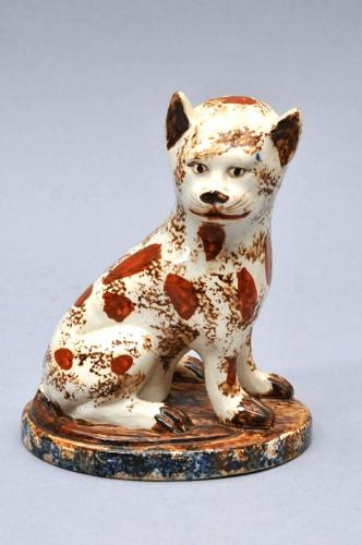 Staffordshire Pottery Creamware Cat, Late 18th Century.