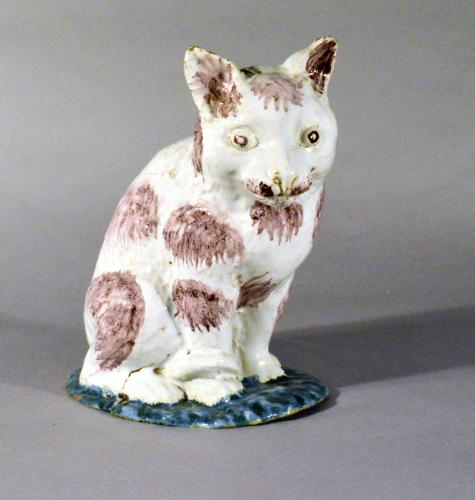 Brussels Faience Model of a Cat, Philippe Mombaers, Circa 1765-85.