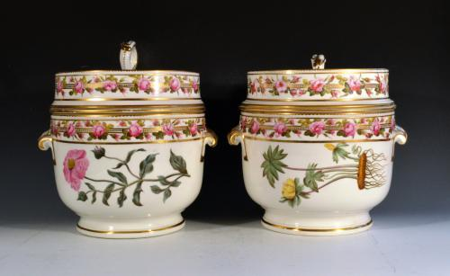 Antique Derby Porcelain Fruit or Ice Coolers, Covers & Liners,  Pattern 142,  Circa 1797.
