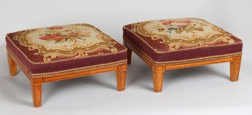 Pair of satin-birch stools