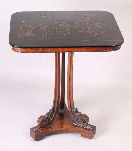 Regency period rosewood and black lacquered table
