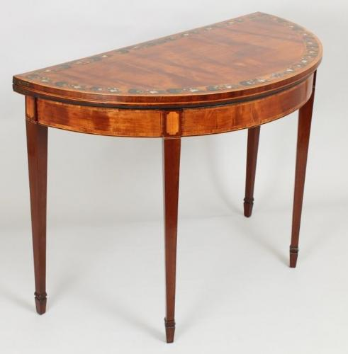 George III period satinwood and mahogany card-table