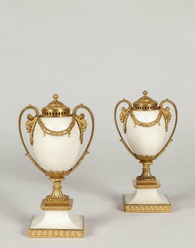 A Pair of Ormolu & Alabaster Cassolettes by Matthew Boulton