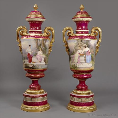 A Pair of Vienna Vases ©AdrianAlanLtd