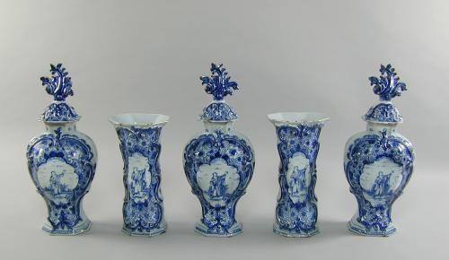 Dutch delft blue & white five piece garniture, c.1760
