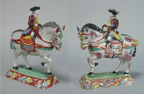 Pair Dutch delft models of horses and riders, c.1780