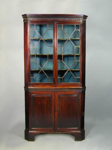 George III mahogany double corner cupboard with glazed upper part, dentil and teardrop cornice, c.1780