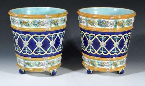Wedgwood Majolica Pair of Cache Pots, Dated 1872