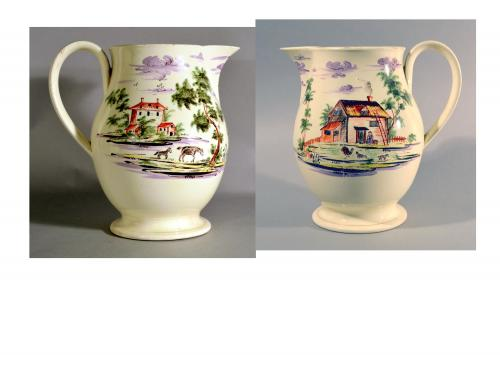 English Creamware Large Jug Decorated with Rustic View of Farm, Circa 1785.