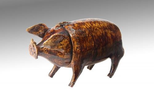 Naive Folk Art Sussex Pig from the Belle-Vue Pottery Rye, Circa 1870.