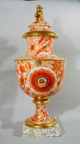 Regency Period English Porcelain Massive Urn & Cover, Attributed to Chamberlain Worcester, Circa 1820-35.