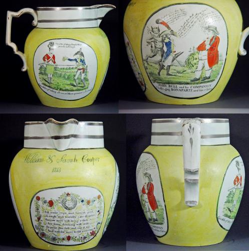 Antique English Pearlware Yellow Ware Regency Documentary Napoleonic Jug, Dated 1813