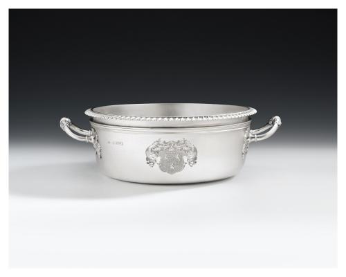 A George IV antique sterling silver souffle dish made in London in 1830 by William Eaton