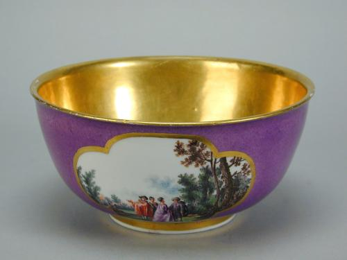 Meissen purple ground and gilt bowl with landscape reserves, c.1740