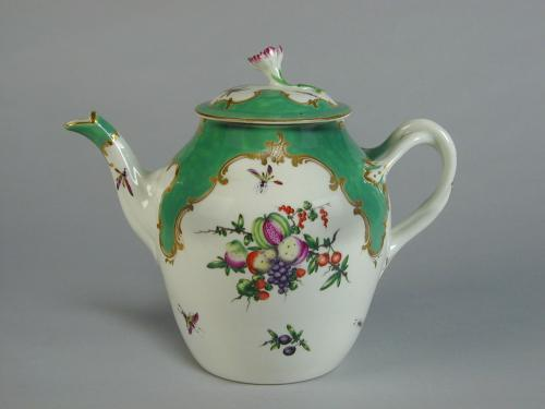 A fine Worcester green ground teapot decorated with fruit and insects, c.1775
