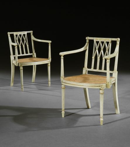 Pair of George III Period White Decorated Armchairs