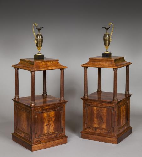 Rare Pair of Georgian Padouk Wood Free Standing Pedestals  English circa 1780