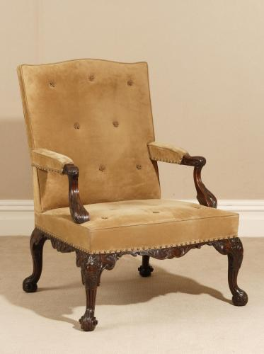 Rare Pair of Chippendale Period Library / Gainsborough Chairs by Paul Saunders  England, circa 1750