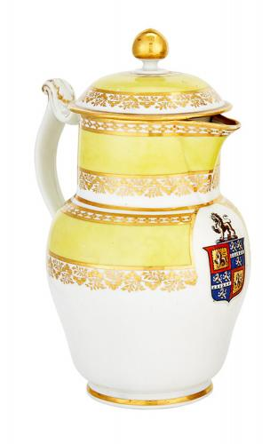 Worcester Yellow-ground Armorial Porcelain Jug, Barr Worcester decorated at Chamberlains, circa 1800