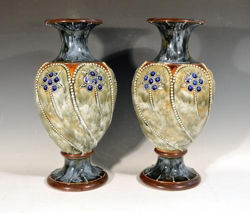 Royal Doulton Marbled Pottery Vases, 1903-05.