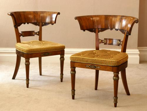 A Pair of Regency Period Klismos Rosewood Library Chairs  England, circa 1820