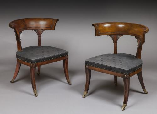 Thomas Hope Pair of Regency Period Mahogany Library Klismos Chairs  Thomas Hope  England, circa 1815