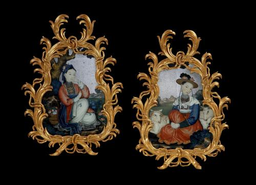 Rare Pair of Chinese Export (China Trade Paintings) Reverse Glass Painted Mirror Pictures  China  Circa 1775