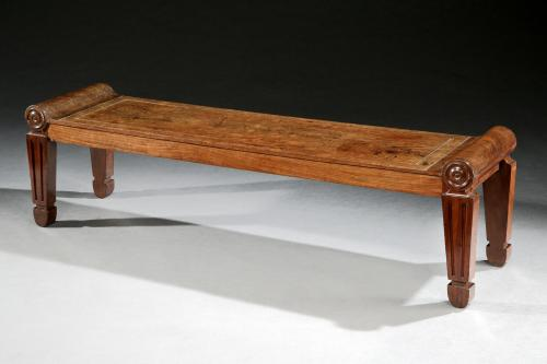 Large Pure English Regency Period Mahogany Hall Bench  Charles Heathcote Tatham  England, circa 1800