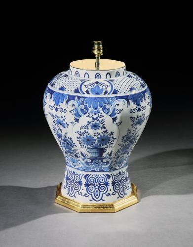 A Large Blue and White Delft Vase Now Mounted as a Lamp