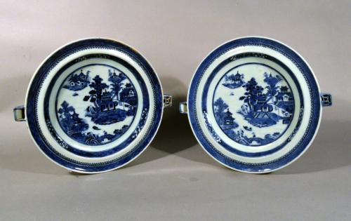 Chinese Export Blue & White Porcelain Hot Water Plates, Circa 1780-1800.
