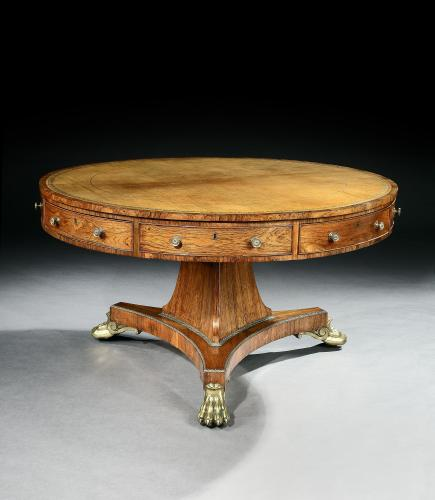 A Regency Rosewood Library Drum Table