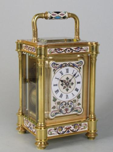 Enamelled carriage clock