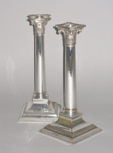 PAIR OLD SHEFFIELD PLATE SILVER CANDLESTICKS. CIRCA 1790