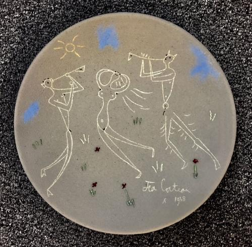 Danseuse et Musiciens, Jean Cocteau Terracotta Pottery Dish, Signed & Dated By Jean Cocteau 1958
