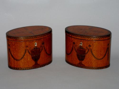 PAIR SATINWOOD & INLAID TEA CADDIES. CIRCA 1785