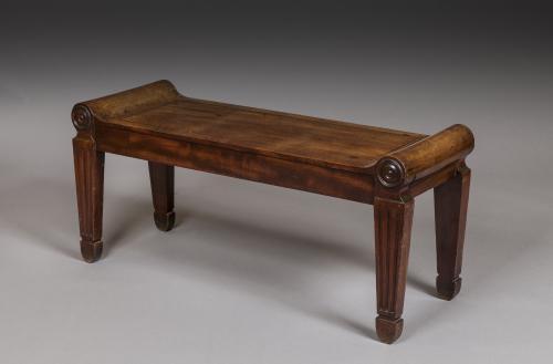 Antique Regency Period Mahogany Tatham Hall Bench Seat CHARLES HEATHCOTE TATHAM England circa 1800