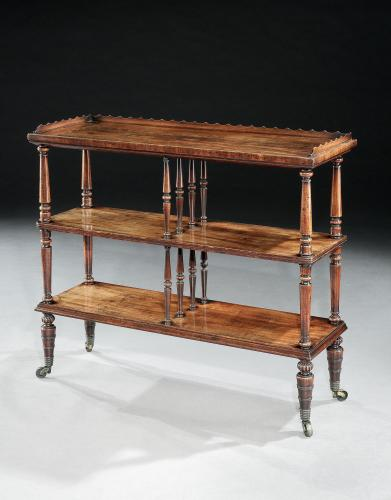 Georgian Period Mahogany Tiered Etagere / Open Bookshelves / Bookcase Gillows of Lancaster & London England Circa 1830