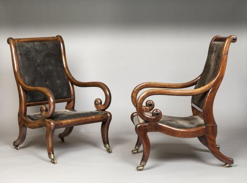 A Pair of Regency Period Mahogany Library Chairs Gillows of Lancaster & London  England Circa 1825