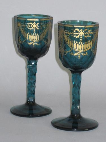 PAIR 18TH CENTURY GREEN GLASS STEM GOBLETS. CIRCA 1775