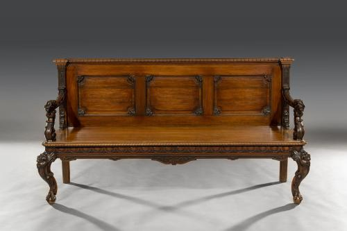 Rare 19th Century Colonial Export Triple-Back Padouk Hall Bench India, possibly Goa Circa 1860