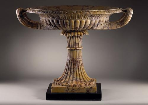 An Exceptional Giallo Antico Marble Tazza, set on a Belgian black marble base