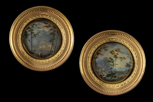 Pair of Early 19th Century Regency Period Convex Glass Painted Landscapes English Circa 1815+