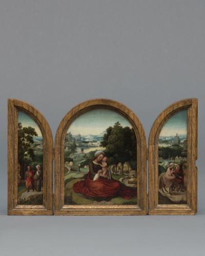 Adriaen Isenbrant and Workshop (c. 1485 – Bruges – 1551)  Landscape with Madonna and Child Joseph and Mary Pregnant Rest on the