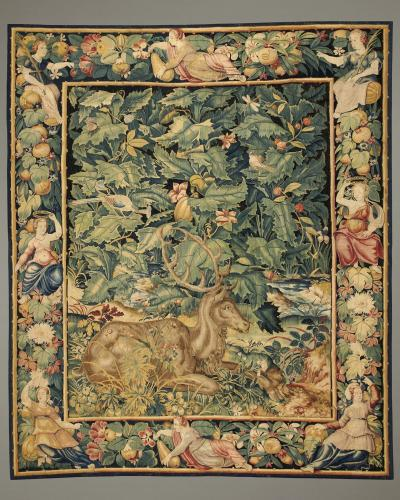 Feuilles de Choux with Stag, Wool and silk, Flemish, probably Enghien, c. 1550 – 1570