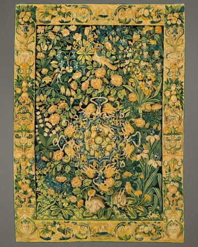 Fond de Fleurs, Wool and silk, Flemish, mid 16th century