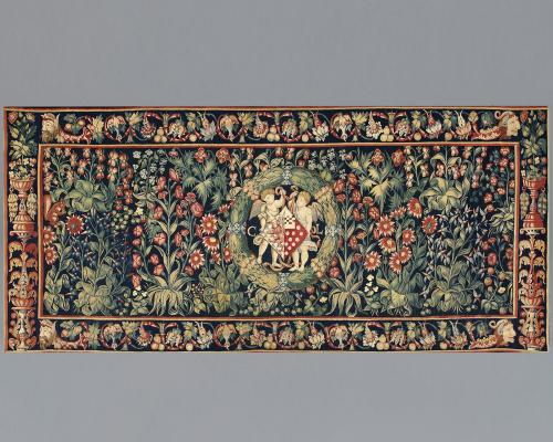 A Millefleurs Tapestry with the coat of arms and initials of Christine de Lechy  Wool and silk  Flemish, attributed to Bruges,