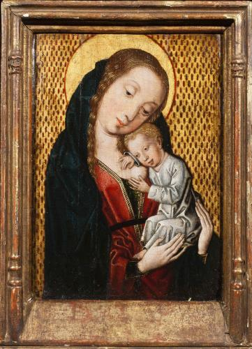Master of the Embroidered Brocade Group (active Brussels c. 1481 – c. 1513)  The Virgin Nursing the Christ Child  Oil on panel,