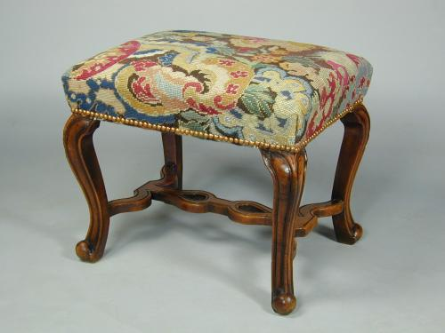 George I walnut cabriole leg stool with pierced shaped stretchers, c.1720